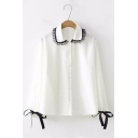 Black Lace Trimmed Lapel Collar Bow-Tied Cuff Long Sleeve White Button Down Shirt