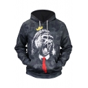 New Arrival 3D Ape Camo Pattern Long Sleeve Regular Sports Black Hoodie