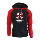 Colorblock Letter UMBRELLA RESIDENT EVIL Printed Long Sleeve Causal Hoodie for Men