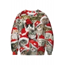 Hot Fashion 3D Red Christmas Cat Pattern Long Sleeve Round Neck Sweatshirt
