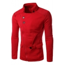 Trendy Stand Collar Button Embellished Long Sleeve Zip Up Patchwork Slim Coat