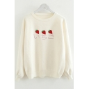 Japanese Character Strawberry Embroidered Round Neck Long Sleeve Pullover Beige Sweater