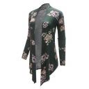 Chic Fashion Floral Printed Open Front Long Sleeve Asymmetric Hem Longline Coat
