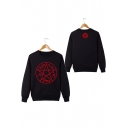 Fashionable Long Sleeve Round Neck Supernatural Logo Printed Cotton Pullover Sweatshirt