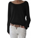 Autumn's New Arrival Long Sleeve Boat Neck Plain Tee for Women