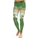 Fashion Digital Printed Green Sports Stretch Leggings
