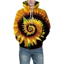 Unique 3D Yellow Sunflower Pattern Long Sleeve Loose Leisure Hoodie