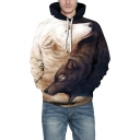 Digital Wolf Pattern Long Sleeve Casual Leisure Unisex Hoodie