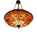 3-Light Living Room Ornate Jewels Accent Inverted Pendant Light in Baroque Style