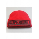 Autumn Stylish Letter SUPERGIRL Embroidered Knit Hat