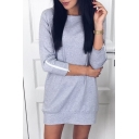 Zip Embellished Long Sleeve Round Neck Mini Shift Sweatshirt Dress