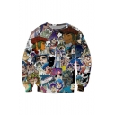 Fancy Letter 3D Cartoon Pattern Long Sleeve Round Neck Pullover Sweatshirt