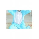 Fleece Color Block Two-Tone Blue Cat Onesie Cosplay Costume Unisex Sleepwear Pajamas