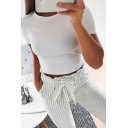 Summer Hot Fashion Round Neck Short Sleeve Basic Solid Fitted Cropped T-Shirt