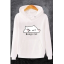 Unisex Fashion Letter BONGO CAT Printed Long Sleeve Casual Sports Hoodie