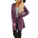 Women's Winter Long Sleeve Open Front Solid Longline Cardigan