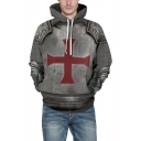 Red Cross Fashion 3D Armour Pattern Long Sleeve Gray Unisex Casual Hoodie