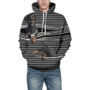 New Trendy 3D Striped Dog Pattern Long Sleeve Black Unisex Hoodie