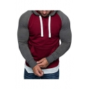 Men's Winter Fashion Color Block Long Sleeve Slim Fitted Hoodie