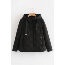 New Stylish Black Long Sleeve Hooded Button Front Cotton-Padded Coat for Women