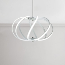 20.5 Inch Wide LED Swirl Globe Chandelier 88W Aluminum Vortex Suspension Light in White for Restaurant Bar Kitchen