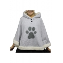 Cartoon Cat Claw Printed Hooded Long Sleeve Gray Cape Coat