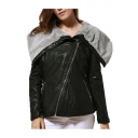 Unique Fold Collar Sloping Zip Up Black PU Biker Jacket for Women