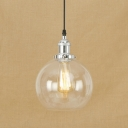 Industrial Spherical Hanging Pendant with Clear Glass Shade 1 Light Indoor Lighting Fixture in Chrome/Bronze