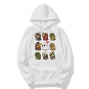 Cute Cartoon Animal Printed Unisex Loose Long Sleeve White Hoodie