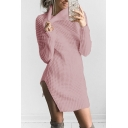 Women's Turtleneck Long Sleeve Sexy Split Side Mini Sheath Hollow Out Sweater Dress