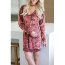 Winter's Chic V-Neck Long Sleeve Loose Fitted Mini Velvet Shift Dress