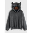 Lovely Bear Ear Long Sleeve Regular Fitted Solid Fleece Hoodie for Juniors