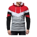 Men's Chic Black and Red Color Block Long Sleeve Slim Fitted Hoodie