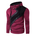 New Arrival Stylish Color Block PU Patched High Neck Long Sleeve Slim Hoodie