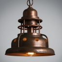 Weathered Copper 1 Light Metal Shade Pendant for Warehouse Loft Kitchen