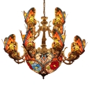 Tiffany Stained Glass 2-Tier Butterfly Shade Chandelier with Floral Center Bowl 38.58