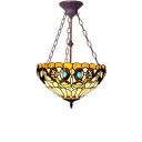 Baroque Style Gorgeous Flower Pattern Inverted Hanging Pendant Light for Restaurant 15.75