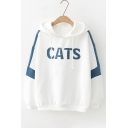 CATS Letter Pattern Fashion Two-Tone Color Block Loose Leisure Hoodie