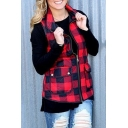 Winter's Classic Check Printed Stand Collar Zip Up Red Padded Vest Coat