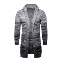 Trendy Ombre Gray Hooded Long Sleeve Open Front Longline Cardigan
