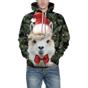 3D Christmas Sheep Pattern Long Sleeve Unisex Sports Green Hoodie
