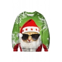 Unique 3D Santa Claus Cartoon Cat Pattern Round Neck Long Sleeve Green Sweatshirt