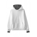 Unique Striped Patched Long Sleeve Unisex Loose Leisure Hoodie