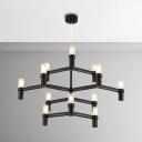 12 Light Crown LED Chandelier Living Room Restaurant Vintage Style Black/White 3 Tier LED Chandelier Light