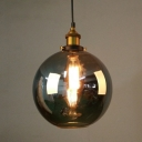 Vintage Loft Style Orb Hanging Light 1 Light Pendant Lamp with Smoke Glass in Polished Brass for Kitchen