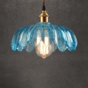 Ceiling Pendant Single Light with Blue Glass Floral Shade in Brass for Restaurant Cafe (3 Sizes for Choice)