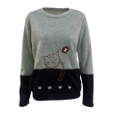 Color Block Cartoon Sleeping Cat Pattern Crewneck Long Sleeve Sweatshirt