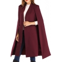 Ladies' Chic Simple Solid Open Front Longline Cape Coat