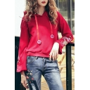 Chic Floral Embroidered Bell Sleeve Casual Loose Red Hoodie for Women