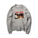 Chic Long Sleeve Round Neck Letter LEON 1994 Printed Loose Cotton Sweatshirt for Couple